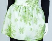 Vintage Green Floral Half Apron