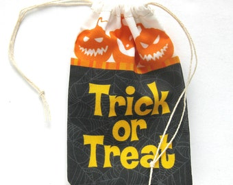 Halloween Trick or Treat Party Favor Bags / Cotton Drawstring Goodie Bags