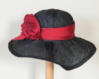 Peterol straw summer hat / wide brim sun protection hat / Grey Downton Abbey hat / grey straw dress hat