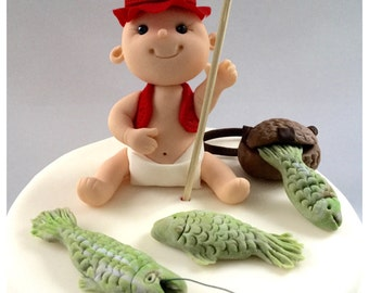 Gumpaste Fishing Baby cake topper set by Cupcake Stylist