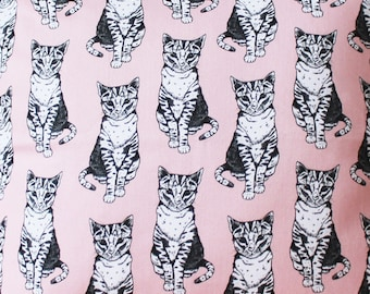 Pink Cat Fabric - upholstery fabric - curtain fabric - Cat fabric - fabric by the yard - Pink fabric - nursery decor - cute fabric