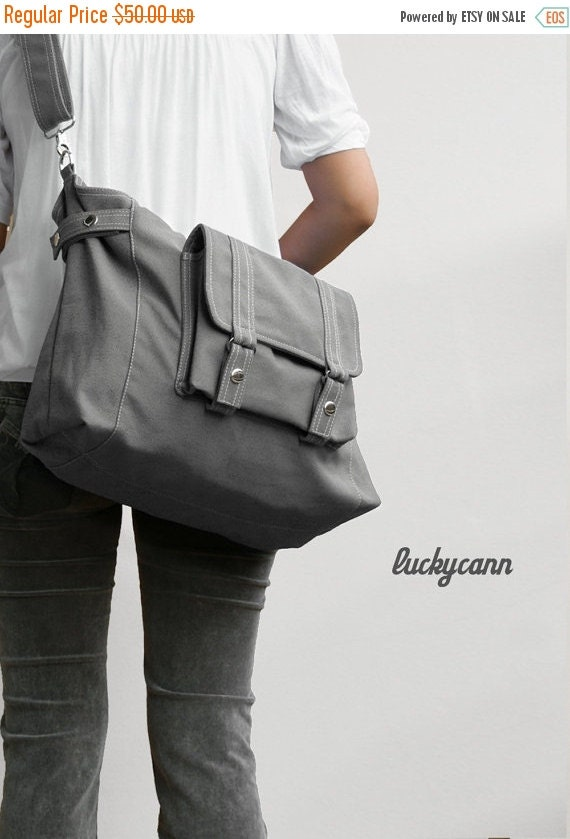 20% SALE back to school CARSON // Dark Grey / Lined with Beige / 031 //  Ship in 3 days // Messenger / Diaper bag / Shoulder bag / Tote bag