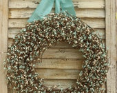 Aqua Berry Wreath - Turquoise Door Decoration - Door Wreath - All Season Wreath