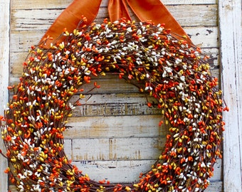 Fall Wreath - Orange Berry Wreath - Candy Corn Wreath - Thanksgiving Wreath