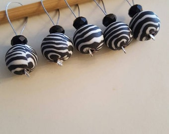 Black and White Striped Knitting Stitch Markers