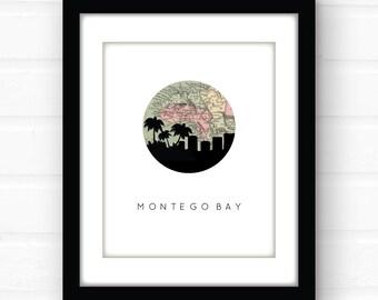 Montego Bay, Jamaica map art | Caribbean map art | Jamaica art print | travel wall art | travel poster | Jamaica wedding art print