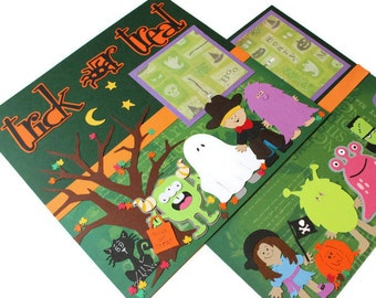 """Two premade scrapbook pages - """"Trick or Treat"""""""