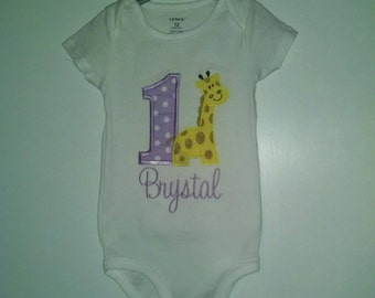 Birthday Giraffe Girl Bodysuit