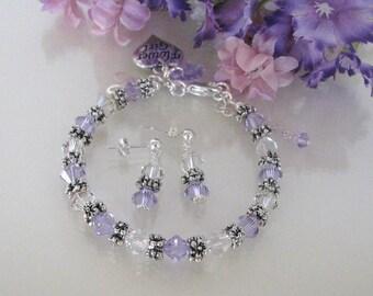 Violet Flower Girl Bracelet Set-Junior Bridesmaid Bracelet-Wedding Party Bracelet-Custom Flower Girl Bracelet-Flower Girl Bracelet Set