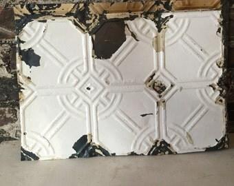 Antique Victorian Farmhouse Chippy White 1800s ceiling tin