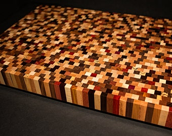 Beautiful Handcrafted End Grain Multiwood Countertop Cutting Board Large End Grain Butcher Block Large Cutting Board Wedding Anniversary