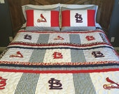 St. Louis Cardinals queen size quilt with matching pillow shams