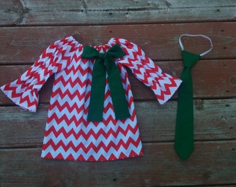 Girls Red Chevron Christmas Holiday Dress with Green Bow  3 6 12 18 24 2T 3T 4T 5/6 7/8 9/10 11/12 13/14 Sibling Set Boys Tie Brother Sister