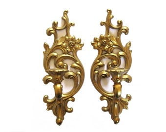 Vintage Syroco Faux Gold Candlestick Holders Floral Fleur De Lis Set of Two