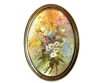Vintage Oval Framed Floral Bouquet Art Print Picture signed Clifford Shabby 70's