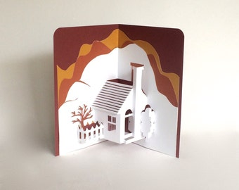Home Pop-Up 3D Card Home Décor Origamic Architecture Handmade in White and Earth Tones of Shimmery Brown and Mustard Sand OOAK