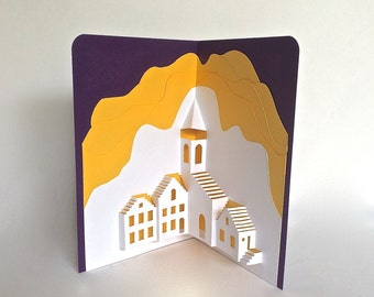 MEDITERRANEAN LANDSCAPE Pop-Up 3D CARD Origamic Architecture Handmade in White, Deep Yellow & Royal Purple Home Décor One Of A Kind