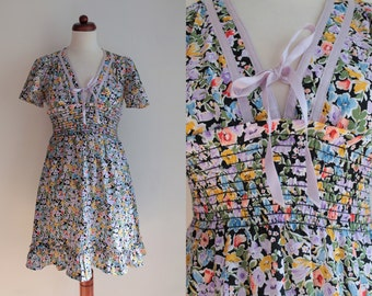Vintage Sundress - Floral Dress from the 1970's - Size S