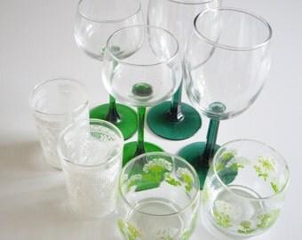 Vintage Drinking Glasses, Mismatched Barware, Mix and Match Glassware, Drinking Glass Collection, Green, White, Set of 8