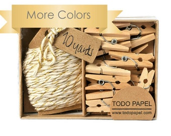 READY TO SHIP | Gold shimmer twine with mini clothespin set. Pretty gift boxed supplies many colors