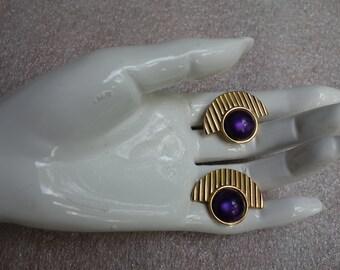 Vintage YSL Yves Saint Laurent Deco Style Gilt and Purple Lucite Earrings