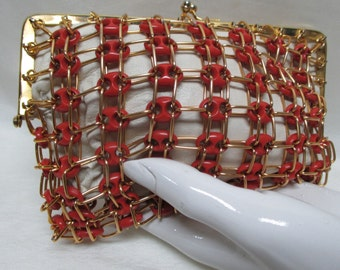 Vintage 50s KORET Lucite, Metal, and Leather Clutch