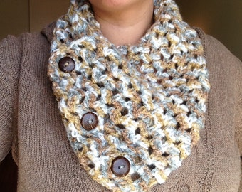 Blue, brown and white button cowl