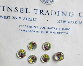 6 Vintage Antique Hand Painted Flowers Glass Cabochon Buttons Ornaments Doll