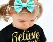 New { Katie } pink and aqua flamingo clip or headband. Baby girl headband, cute baby headband, baby shower gift