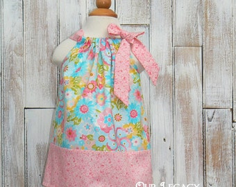 Sale..Blossom Pillowcase dress  Ready to ship size 9-12 month  Blue floral and pink ... sun dress ... single tie pillowcase dress