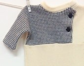 Creamy White Cashmere Baby Onepiece, Houndstooth Navy cashmere sweater, up-cycled sweater, infant wear, baby wooly bunting, baby clothing