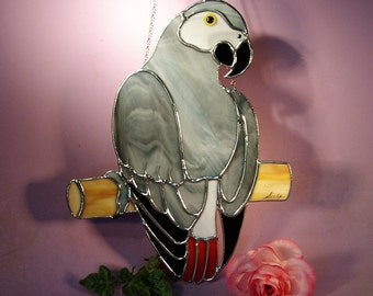 Stained Glass Suncatcher African Gray Parrot  (747)