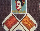 Frida Kahlo kitchen towel, Frida kitchen towel, Mexican artist kitchen towel, brown kitchen towel