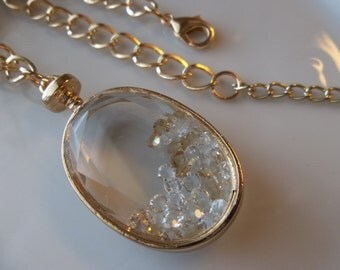 Large Oval Pendant Charm with Clear Stones Inside-Gold- Chain Link Necklace- Stunning  (476)