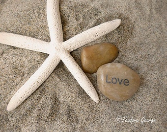 Starfish Love Photography, Beach Photo, Ocean Photography, Starfish, Rock Photography, Wall Art Print