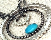 Turquoise and Silver Necklace, Three Circels Necklace, Pendant Necklace, Bohemian Jewelry, Navajo Jewelry
