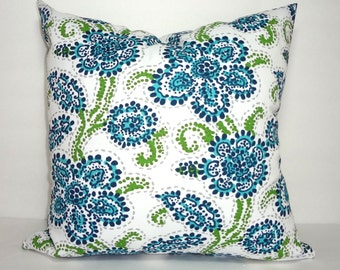 OUTDOOR Pillow Cover Navy Blue Floral Aqua Blue Riley Paisley Deck Patio Pillow Cover 18X18