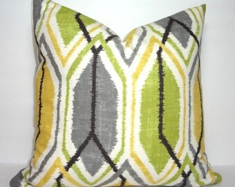 Decorative Throw Pillow Cover Richoom Sketch Lemongrass Geometric Green Grey Yellow Pillow Cover 18x18