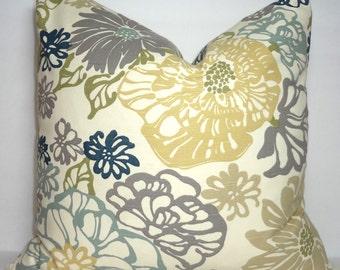 Decorative Pillow Blue Grey Yellow Richloom Invigorate Coastal Floral Pillow Cover 18x18