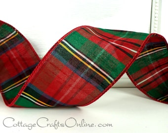 "Christmas Wired Ribbon, 2 1/2""  Red Green Faux Dupioni Tartan Plaid, TEN YARD ROLL,  d. stevens, ""Highland"" Decor / Craft Wire Edged Ribbon"