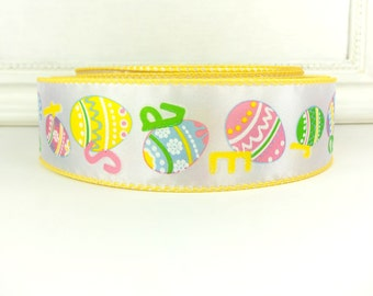 """SALE! Easter Wired Ribbon, 1 1/2""""  Easter Eggs, Pink, Green, Blue, Yellow Print - THREE YARDS -  """"Egg Hunt"""" Wired Edge Ribbon"""