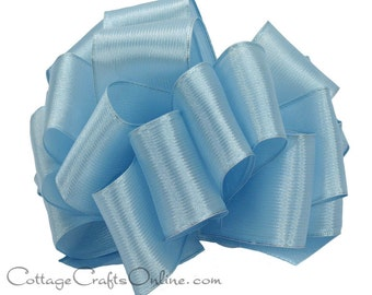 "Wired Ribbon, 2 1/2"" Light Blue Semi-Sheer - TEN YARD Roll - Offray ""Prelude"" Diamond Blue, Wedding Ribbon, Wire Edged Ribbon"