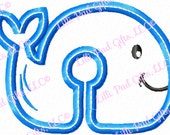 G-Tube Cover- Whale - Applique - Machine Embroidery Design - 2 sizes