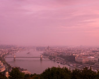 Budapest, Hungary, Skyline, World Travel, 10x30 Canvas