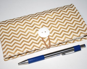 Gold Chevron Checkbook Cover -  with Closure, with Elastic Pen Holder, OPTIONAL Vinyl Duplicate Check Divide, Shimmery Metallic Gold Pattern