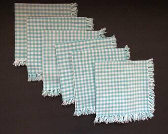 Turquoise Plaid Napkins - Retro 1960s Checks Cotton Fringe Napkins -  Set of 6 - Vintage Table Linens - Collectible - Picnic BBQ RV