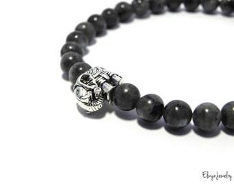 Gemstone Bracelet, Mens Bracelet, Strength Bracelet, Mens Jewelry, Larvikite Bracelet, Gemstone Jewelry, Elephant Bracelet, Husband Gift