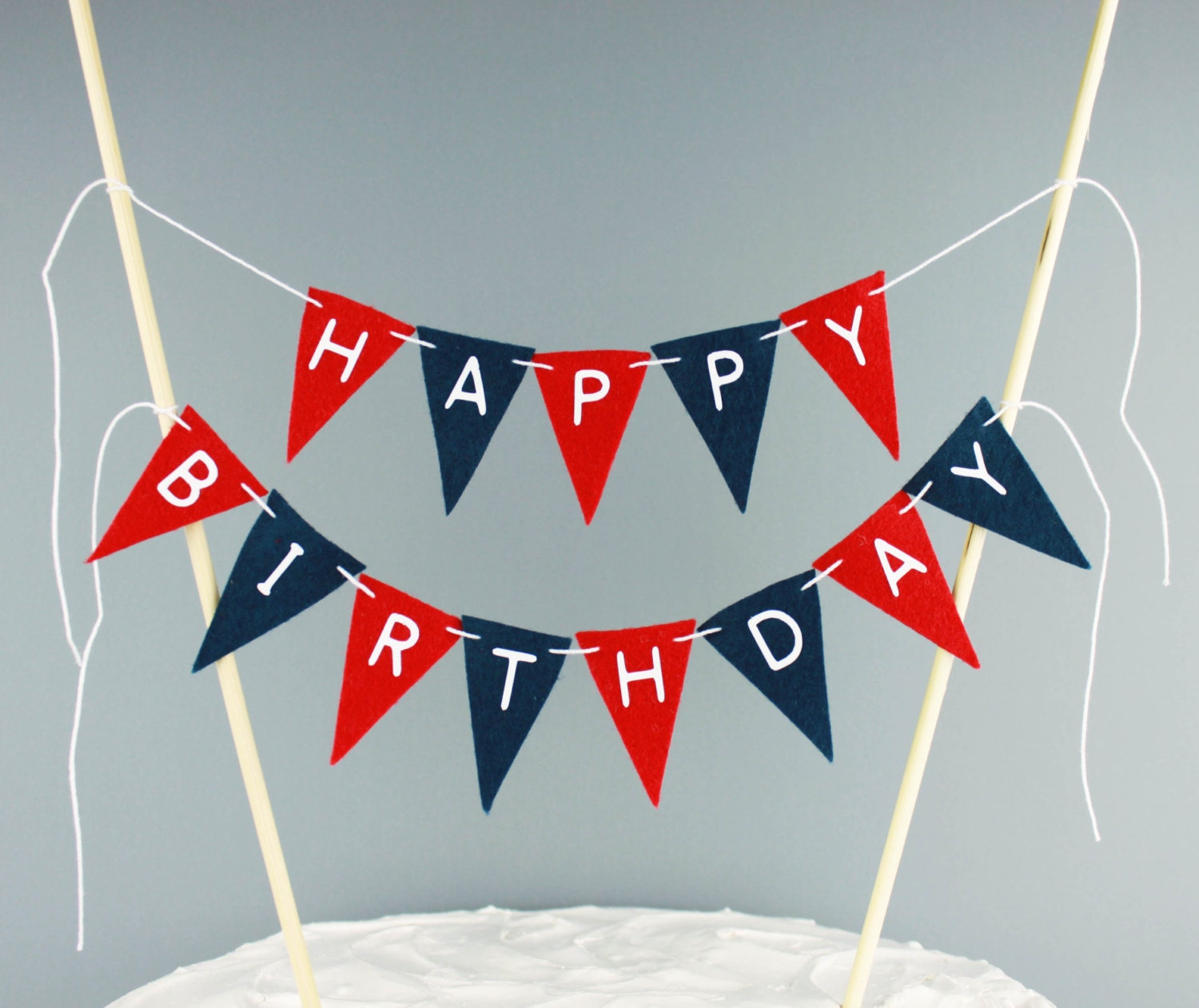 Happy Birthday Cake Banner Red and Navy Blue Cake Bunting Topper