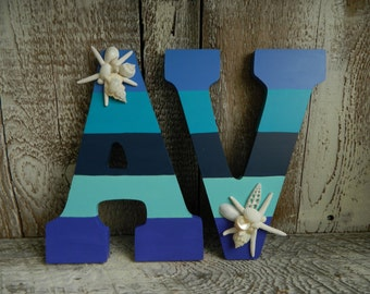 Custom  Hand Painted Letters Beach Blue Stripes with Starfish and Seashells  Sold