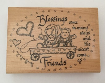 "Large Rubber Stamp ""Blessings and Friends"" - Scrapbooking, Crafts, Card Making, Supplies"